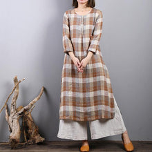 Load image into Gallery viewer, fashion khaki plaid linen caftans oversized side open linen maxi dress women o neck gown