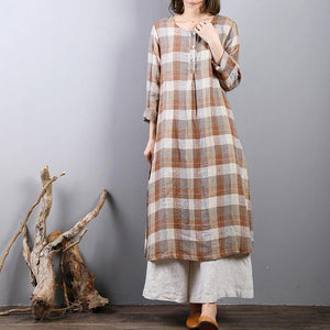 fashion khaki plaid linen caftans oversized side open linen maxi dress women o neck gown