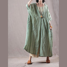 Load image into Gallery viewer, fashion light green long linen coat oversize v neck cardigan boutique bracelet sleeved caftans