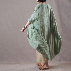 fashion light green long linen coat oversize v neck cardigan boutique bracelet sleeved caftans