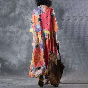 fashion linen dresses plus size Women Linen Pullovers Printed Pleated Pullovers Dress