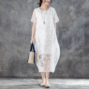 fashion long cotton linen dresses casual Women Casual Short Sleeve Rose Pattern White Dress