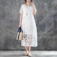 Load image into Gallery viewer, fashion long cotton linen dresses casual Women Casual Short Sleeve Rose Pattern White Dress
