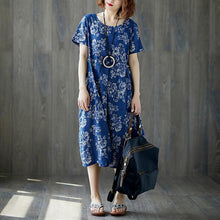 Load image into Gallery viewer, fashion long cotton linen dresses plus size Women Summer Blue Short Sleeve Floral Casual Long Dress