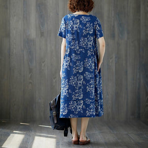 fashion long cotton linen dresses plus size Women Summer Blue Short Sleeve Floral Casual Long Dress