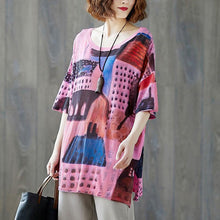 Load image into Gallery viewer, fashion natural linen t shirt plus size Summer Fabric Casual Short Sleeve Printed Tops