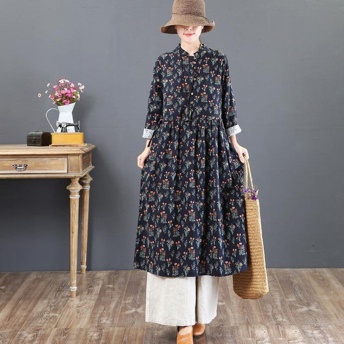 fashion navy prints natural cotton dress  Loose fitting stand collar cotton clothing dress boutique tunic cotton caftans