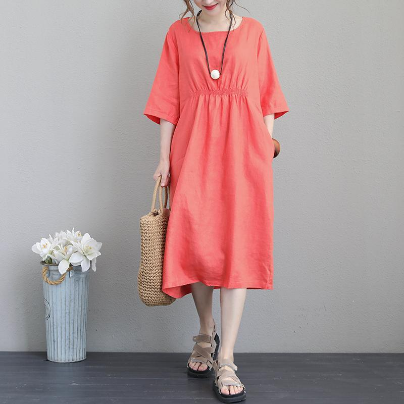 fashion orange linen caftans Loose fitting O neck elastic waist linen clothing dresses boutique Half sleeve linen dress