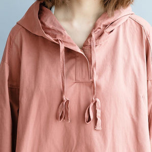 fashion pink cotton dresses Loose fitting Hooded pockets fall dresses Elegant long sleeve autumn dress