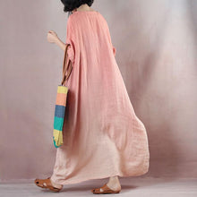 Load image into Gallery viewer, fashion pink orange linen dresses Loose fitting v neck baggy dresses  half sleeve maxi dresses