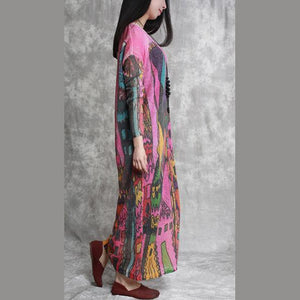 fashion pink prints linen dresses trendy plus size long sleeve caftans vintage o neck linen caftans