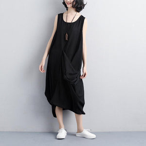 fashion polyester dress Loose fitting Women Summer Round Neck Sleeveless Black Dress