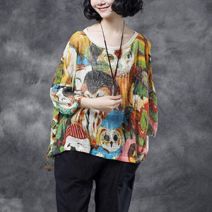 fashion pure linen blended tops plus size Women Summer Long Sleeve Printed Pockets High-low Hem Casual Blouse