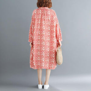 fashion red floral cotton dresses Loose fitting Stand baggy dresses boutique long sleeve cotton dresses
