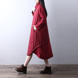 fashion red long cotton dress caftans high neck pocketsYZ-2018111425