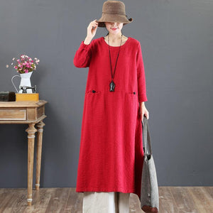 fashion red long cotton dresses Loose fitting o neck gown top quality pockets Chinese Button maxi dresses