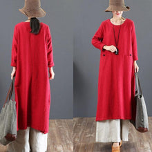Load image into Gallery viewer, fashion red long cotton dresses Loose fitting o neck gown top quality pockets Chinese Button maxi dresses