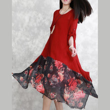 Load image into Gallery viewer, fashion red silk dress plus size clothing patchwork silk clothing dresses women asymmetric hem silk caftans