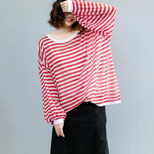 fashion red striped  pure linen tops oversized linen maxi t shirts women lantern sleeve o neck cotton shirts