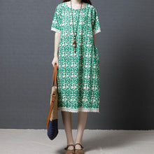 Load image into Gallery viewer, fashion shift dresses oversize Women Summer Cotton cotton Linen Round Neck Green Dress
