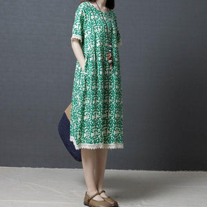 fashion shift dresses oversize Women Summer Cotton cotton Linen Round Neck Green Dress