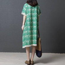 Laden Sie das Bild in den Galerie-Viewer, fashion shift dresses oversize Women Summer Cotton cotton Linen Round Neck Green Dress