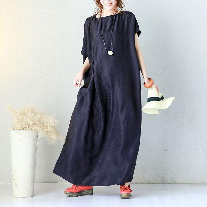 fashion silk blended sundress plus size clothing Irregular Solid Shoulder Sleeves Women Blue Dress