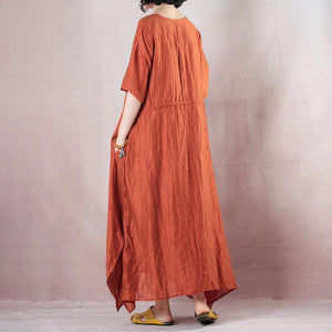 fashion silk linen dress plus size clothing Loose Tencel Linen Solid Color O-Neck Short Sleeve Dress
