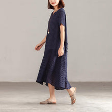 Load image into Gallery viewer, fashion silk linen maxi dress plus size clothing Women Navy Blue Short Sleeve Summer Casual Dress
