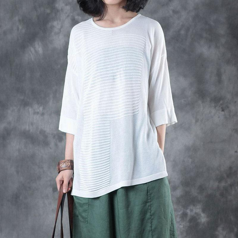 fashion summer linen blended t shirt casual Women Flax 12 Sleeve Stripe Plain White Tops