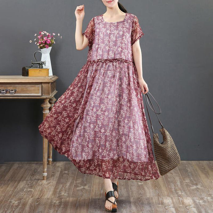 fashion summer maxi dress top quality Fake Two-piece Short Sleeve Red Floral Dress