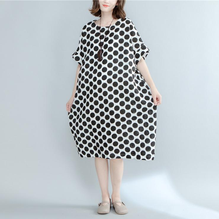 fashion black dotted linen maxi dress oversized short sleeve linen clothing dresses New o neck maxi dresses