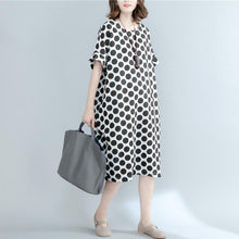 Load image into Gallery viewer, fashion black dotted linen maxi dress oversized short sleeve linen clothing dresses New o neck maxi dresses