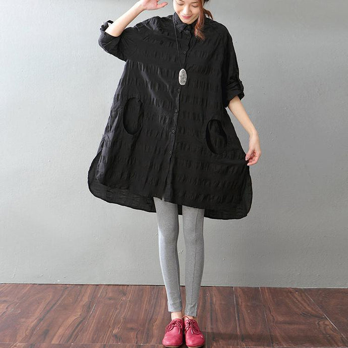 fashion black pure linen tops plus size clothing traveling blouse New pockets side open linen blouses