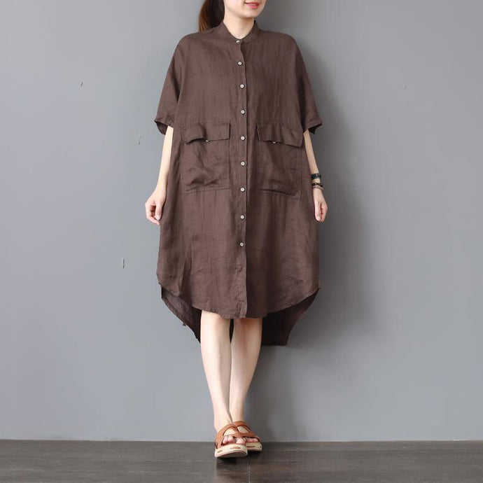 fashion chocolate linen dresses oversize linen cotton dress vintage low high design lapel collar midi dress