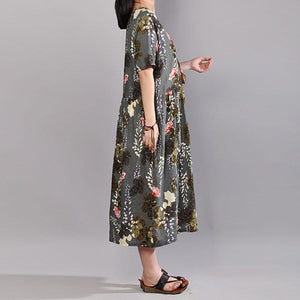 fashion cotton caftans oversized Printed Round Neck Short Sleeve Pleated Dress