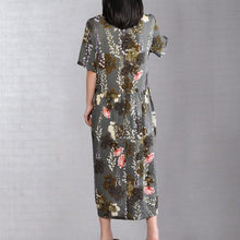 Load image into Gallery viewer, fashion cotton caftans oversized Printed Round Neck Short Sleeve Pleated Dress
