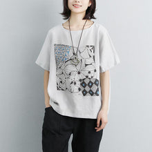 Load image into Gallery viewer, fashion cotton shirts trendy plus size Linen Cotton Short Sleeve Printed Gray Tops