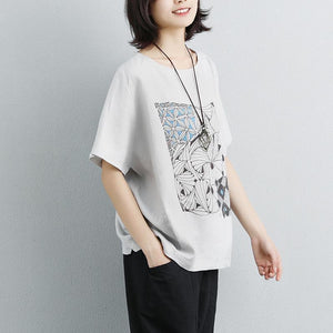 fashion cotton shirts trendy plus size Linen Cotton Short Sleeve Printed Gray Tops