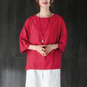 fashion cotton summer top oversize  Loose Round Neck Shoulder Sleeve Red Tops