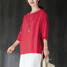 Load image into Gallery viewer, fashion cotton summer top oversize  Loose Round Neck Shoulder Sleeve Red Tops