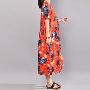 fashion cotton sundress Loose fitting Printed Round Neck Short Sleeve Casual Pleated Dress