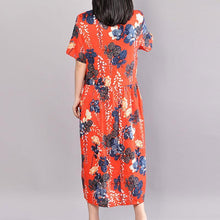 Load image into Gallery viewer, fashion cotton sundress Loose fitting Printed Round Neck Short Sleeve Casual Pleated Dress