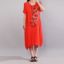 Load image into Gallery viewer, fashion cotton sundress trendy plus size Embroidery Summer Casual Short Sleeve Orange Red Dress
