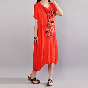 fashion cotton sundress trendy plus size Embroidery Summer Casual Short Sleeve Orange Red Dress