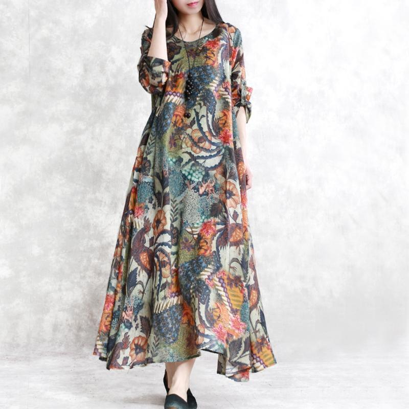 fashion floral natural linen dress  plus size big hem traveling clothing Elegant o neck caftans