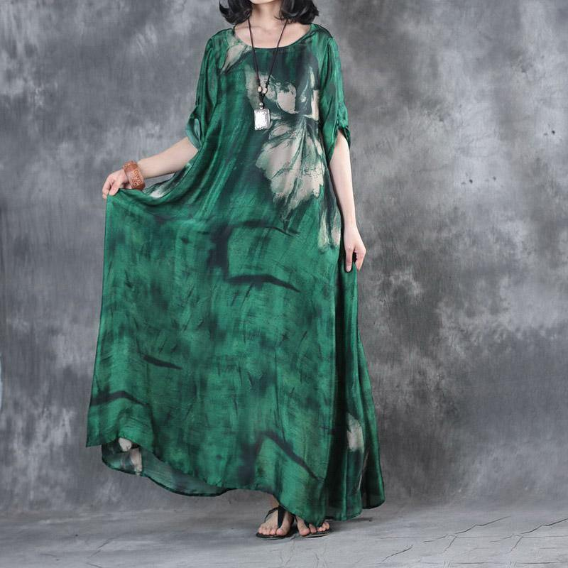 fashion green prints silk dresses Loose fitting short sleeve silk maxi dress Elegant big hem kaftans