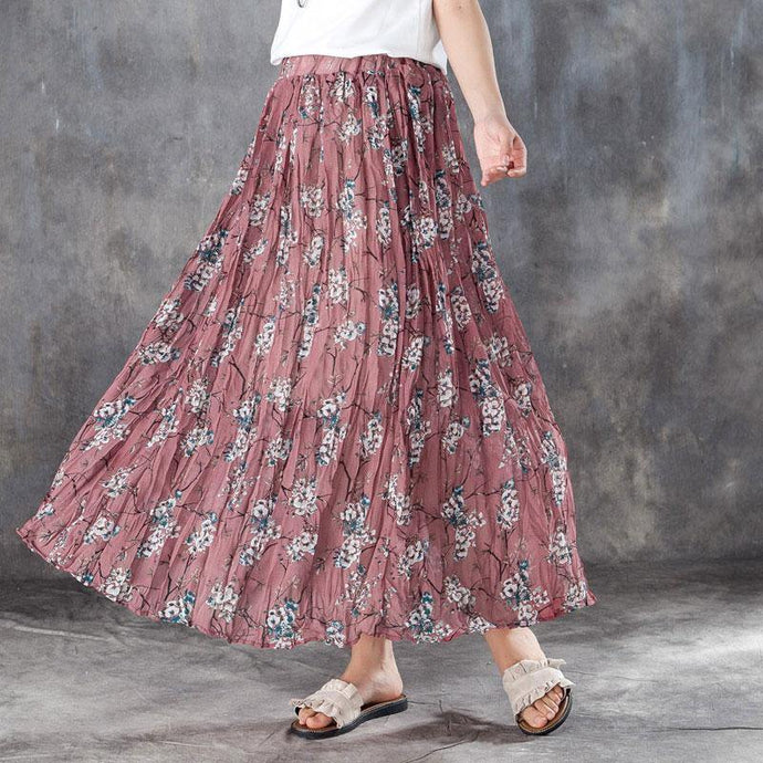 fashion linen sundress plus size Women Elastic Waist Lining Red Pleated Skirts