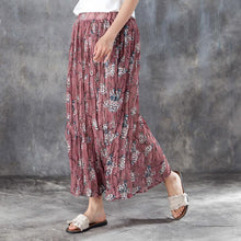 Load image into Gallery viewer, fashion linen sundress plus size Women Elastic Waist Lining Red Pleated Skirts