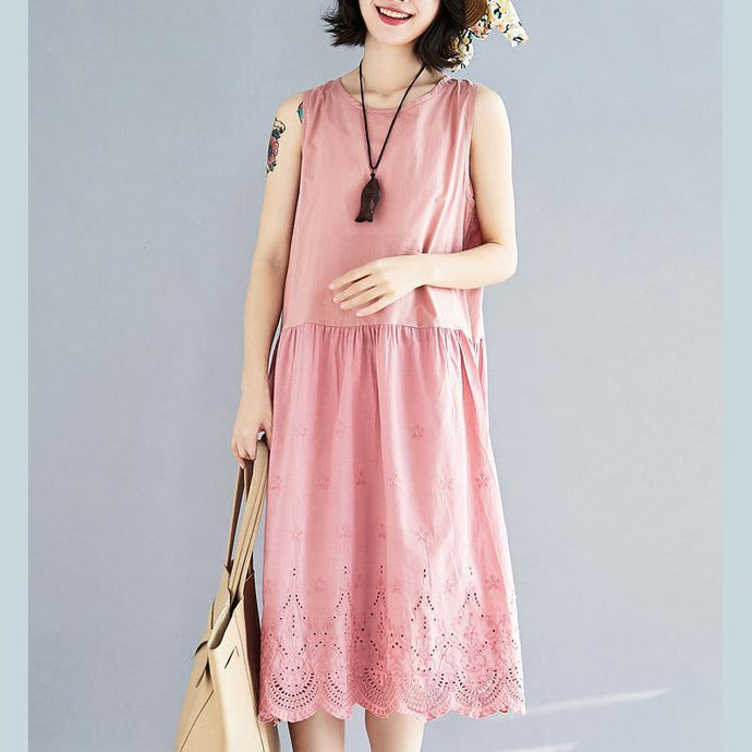 fashion pink long linen dress plus size hollow out linen gown 2018 sleeveless maxi dresses